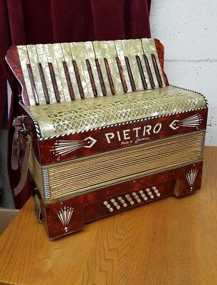 Stunning red Vintage Pietro 31 Note Keys & 24 Buttons, Piano Accordian Germany
