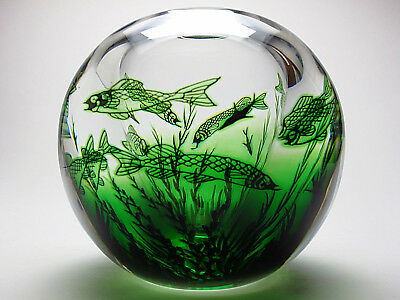 Signed Orrefors Edward Hald Round Art Glass Fish Graal Vase Green And Clear XLNT