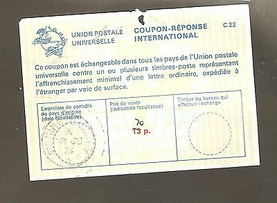 GREAT  BRITAIN  1070s  unused  INTERNATIONAL  BRESPONSE COUPON    SURCHARGED