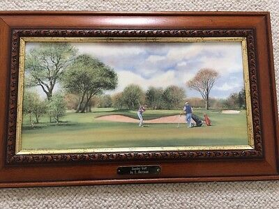 Framed Terry Harrison Sunday Golf Signed Print with Plaque