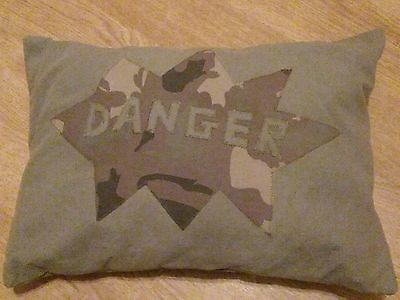 Ideal for boy's bedroom! Danger cushion, unique and handmade.