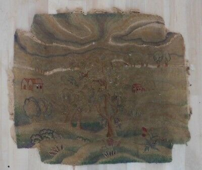 Antique Wool Work Tapestry Panel