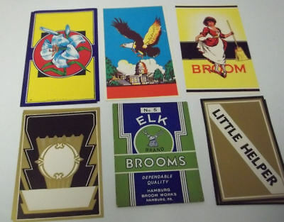 21 different Vintage Broom Labels..
