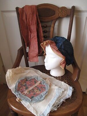 1930s Antique Vintage OLD HALLOWEEN COSTUME Faux Bloomers Hat Sash Belt BO PEEP