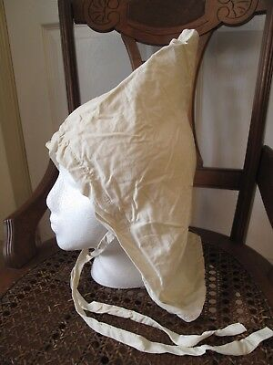 1930s Antique Vintage OLD HALLOWEEN COSTUME Pointed White HAT BONNET Shawl Scarf