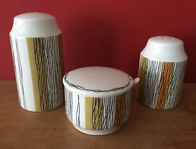 Vintage Midwinter Sienna Salt, Pepper and Mustard Pot Cruet Set