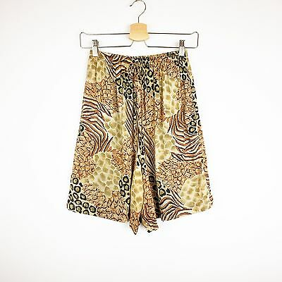 90's Rayon Women's Small Shorts High Waisted VTG Animal Print Gold Brown Black