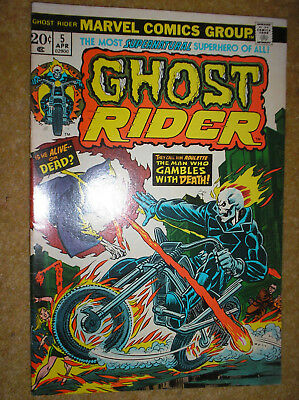 GHOST RIDER # 5 GIL KANE JIM MOONEY 20c 1974 BRONZE AGE HORROR MARVEL COMIC BOOK