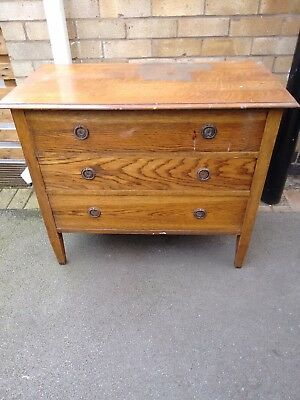 Mid Century Oak three Draw Chest of Drawers in need of light restoration.