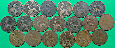 Date Run 19 Different Old British Large Penny Coins 1896-1914 !!
