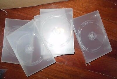 """6 dvd cd cases clear plastic Jewel case plastic wrapped New Lot of 6  7.5""""x6.5"""""""