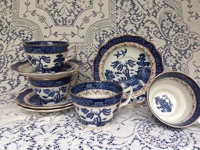 """4 CUPS & SAUCERS Booths Real Old Willow """"book mark"""" 1944-1981 Blue Willow teacup"""