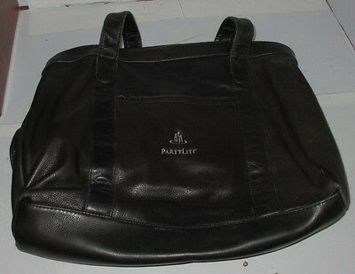 Partylite Consultant Exclusive Large Tote Leather Carry Bag & Compartments Used