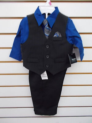 Infant/Toddler Boys Holiday Editions $26.99 4pc Black/Royal Vest Suit Sz 12m-5T