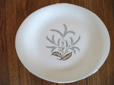 "STEUBENVILLE 12"" Oval Platter Gray Leaves Silver Trim"