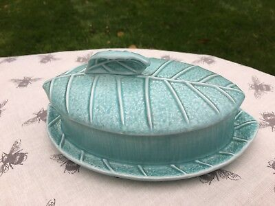 Vintage SYLVAC light turquoise butter dish leaf shape 2356