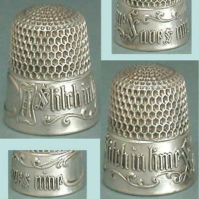 "Antique Sterling Silver ""A Stitch In Time"" Thimble * Circa 1890s"