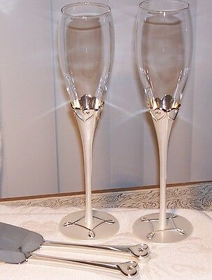 Things Remembered Everlasting Love Wedding Flutes & Cake/ Knife Server Se