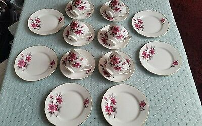 Vintage Royal Stafford bone china Evesham Teacup saucers & plates trios