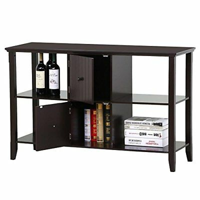 3 Tier Solid Wood Sideboard Console Table with 2 Door Storage Cabinets...