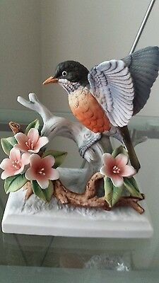 Vintage Lefton Bird On Branch (Robin) Hand Painted
