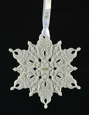 "Wedgwood China 4"" 2000 SNOWFLAKE Ornament - Discontinued!"