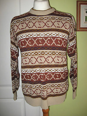 "Mens 1970's Genuine Vintage Jumper Brown Fawn Mix Size L 42"" Chest By Gems"