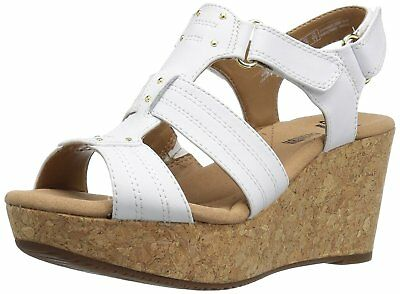 52eb94bc50a CLARKS WOMEN S ANNADEL Orchid Wedge Sandal White Leather -  59.98 ...