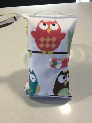 Pink Owl, Nappy Wallet, Handmade, New.(A7)
