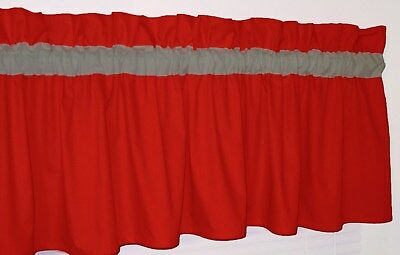 Solid Red & Gray Curtain Window Topper Valance Kitchen School Colors Bedrooom