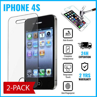 2-PACK Screen Protector 9H LCD Protecteur Real Tempered Glass Film For iPhone 4S