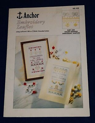 Ruby & Golden Wedding Hardanger Samplers, Anchor Embroidery leafelet AEL 020