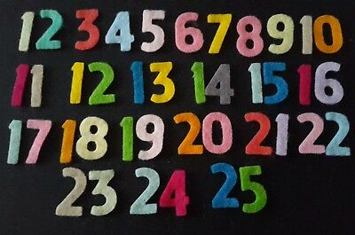 Iron On Felt Advent Numbers 1 - 25, Choose your Colour, 40% Wool Felt.