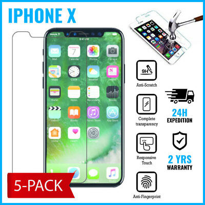 5-PACK Screen Protector 9H LCD Protecteur Real Tempered Glass Film For iPhone X