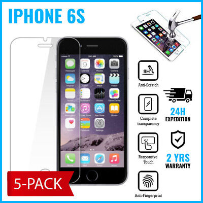 5-PACK Screen Protector 9H LCD Protecteur Real Tempered Glass Film For iPhone 6S