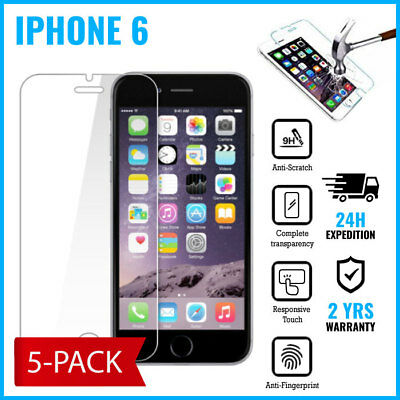 5-PACK Screen Protector 9H LCD Protecteur Real Tempered Glass Film For iPhone 6