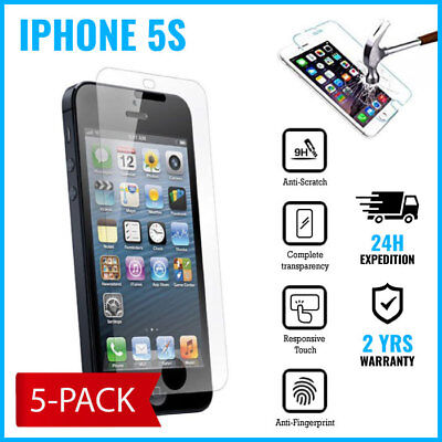 5-PACK Screen Protector 9H LCD Protecteur Real Tempered Glass Film For iPhone 5S