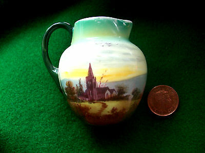 Antique 1902-1922 Royal Doulton Miniature Jug Hand Painted English Country View