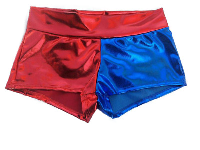 Harley Quinn shorts Blue/Red shiny Metallic  in S - 3XL Same Day Shipping