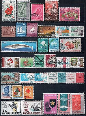 INDONESIA - Mixed lot of 33 Stamps, most Good to Fine Used, LH