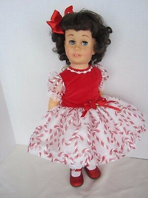 CHATTY CATHY Brunette Bob Hard Face CANDY CANE PARTY DRESS TALKS FREE SHIPPING