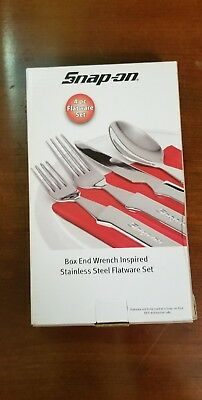 Snap-on SSX14P108 Box End Wrench Inspired Stainless Steel Flatware Set New!