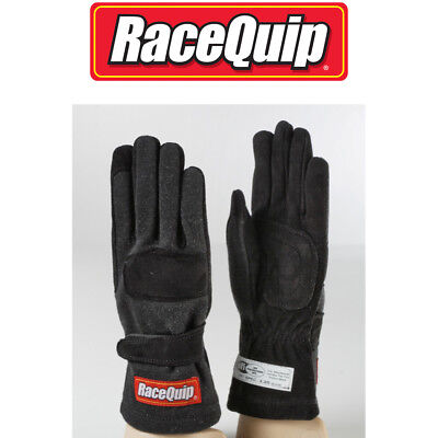 RaceQuip 355005 Large Double Layer Black Auto Racing Driving Gloves Nomex SFI