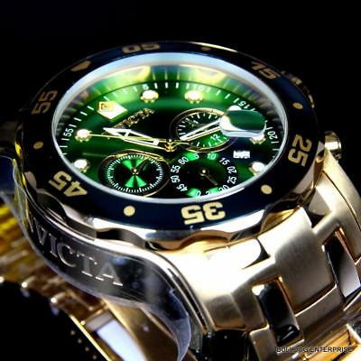 Invicta Pro Diver Scuba 18kt Gold Plated 48mm Green Dial Chronograph Watch New