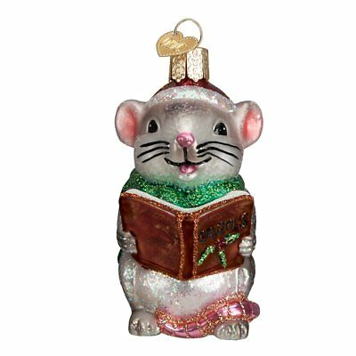 Old World Christmas Caroling Mouse Glass Blown Ornament, Grey