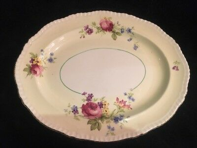 """Wood & Son Ivory ware England 12"""" Oval Platter Yellow w/Floral Design Gold Trim"""
