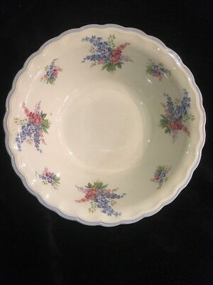 """Wood & Son Ivory ware England 351 Blue Trim with Pink Flowers 8"""" Serving Bowl"""