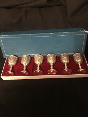 Six Vintage Raimond Silverplate Goblets In Original Box