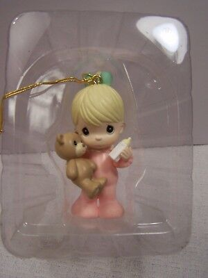 Baby Girl w Teddy Bear Christmas Ornament Precious Moments by Enesco ~ 1996