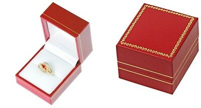 Wholesale 144 Classic Red Leatherette Ring Jewelry Display Gift Boxes